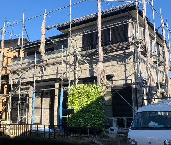 大阪府堺市 外壁塗装 仮説足場設置 メッシュ 下地処理