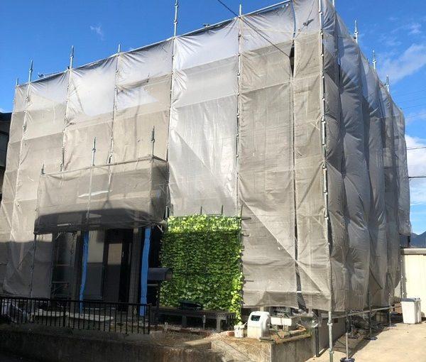 大阪府堺市 外壁塗装、屋根塗装 仮説足場設置 メッシュシート