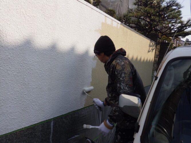 門塀の塗装の画像